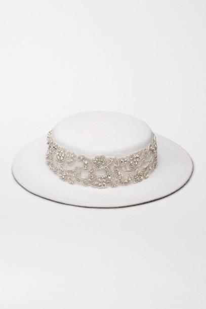 Eugenia Kim - Hayley Paige Marni Crystal-embellished Wool-felt Hat - White