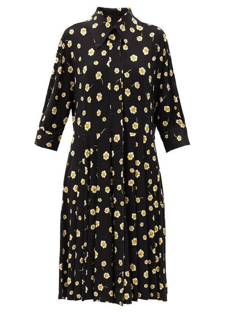 Norma Kamali - Floral-print Jersey Shirt Dress - Womens - Black Print