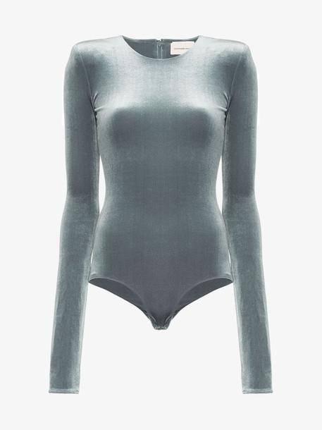 Alexandre Vauthier Velvet padded shoulder bodysuit in grey