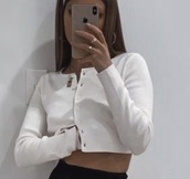 blouse,white,thick material,cropped,cardigan,button up
