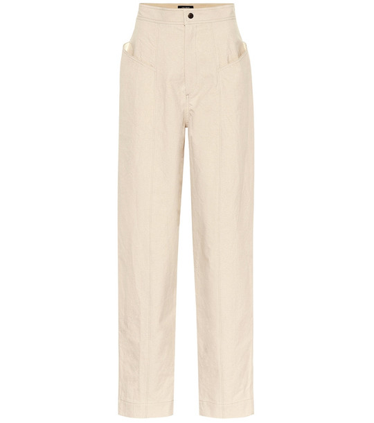 Isabel Marant Ladjo high-rise cotton pants in white