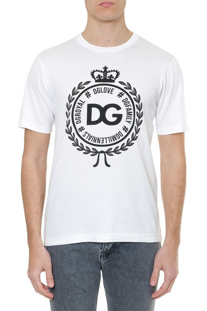 Dolce & Gabbana White Cotton T Shirt With Print