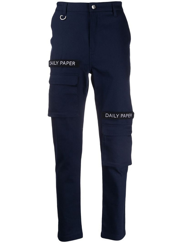 Daily Paper logo patch cargo pants in blue