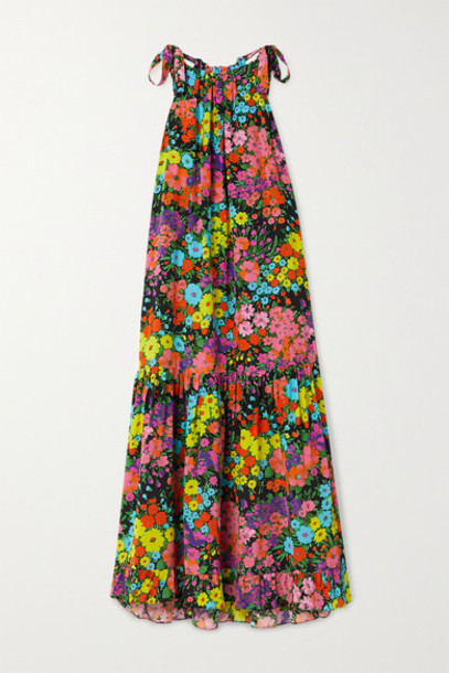 Les Rêveries - Tiered Ruffled Floral-print Silk Crepe De Chine Midi Dress - Black