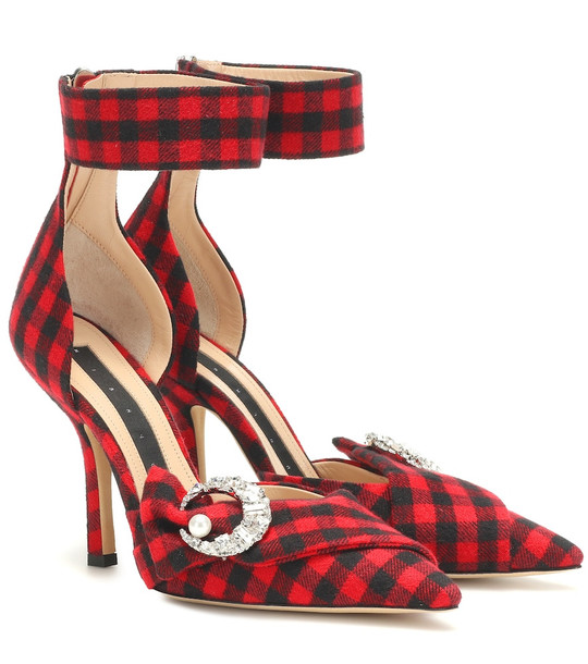 Midnight 00 Corset checked pumps in red