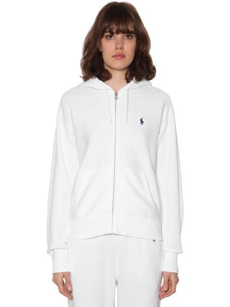 POLO RALPH LAUREN Light Cotton Blend Sweatshirt Hoodie in white