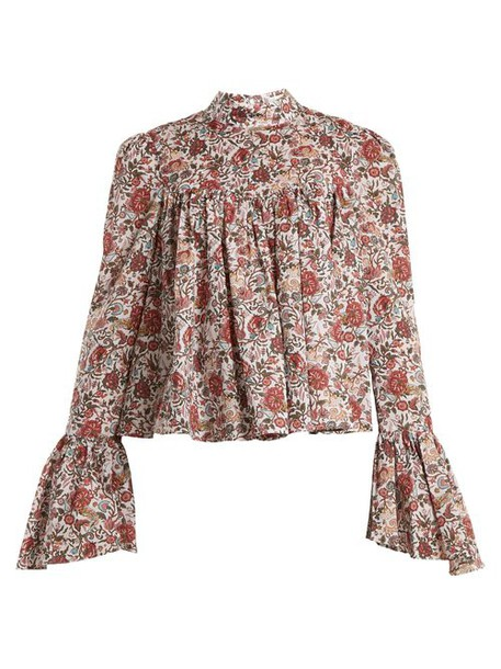 Caroline Constas - James Floral Print Cotton Blouse - Womens - Burgundy Multi