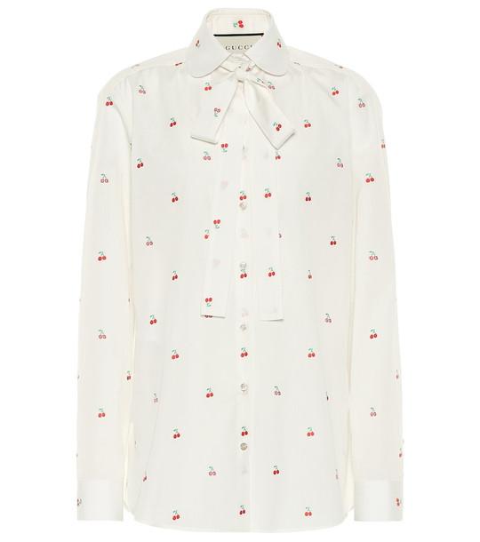 Gucci Fil coupé cotton blouse in white
