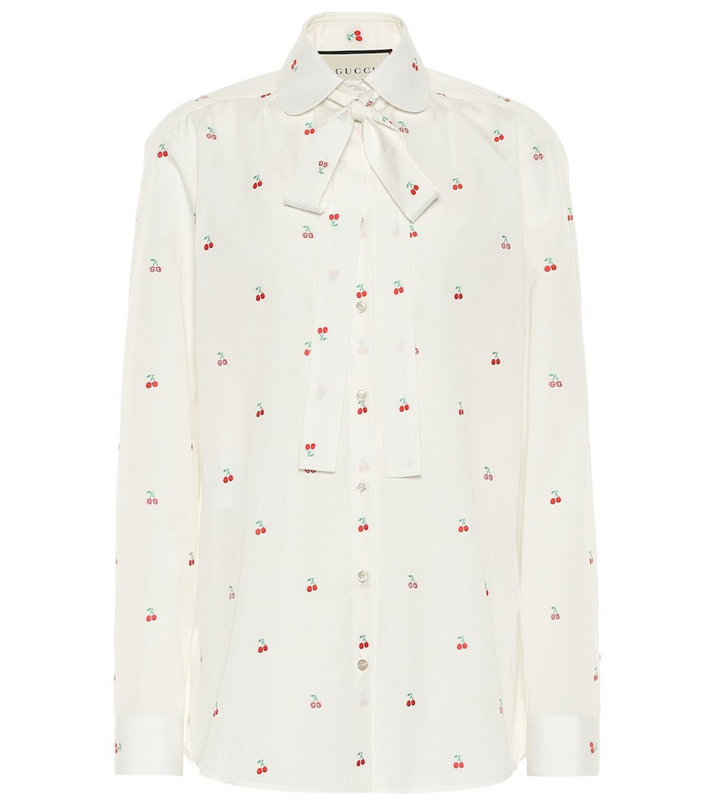 Gucci Fil coupé cotton blouse in white