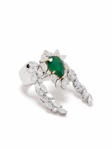 Yeprem 18kt white gold, emerald and diamond ring - Silver