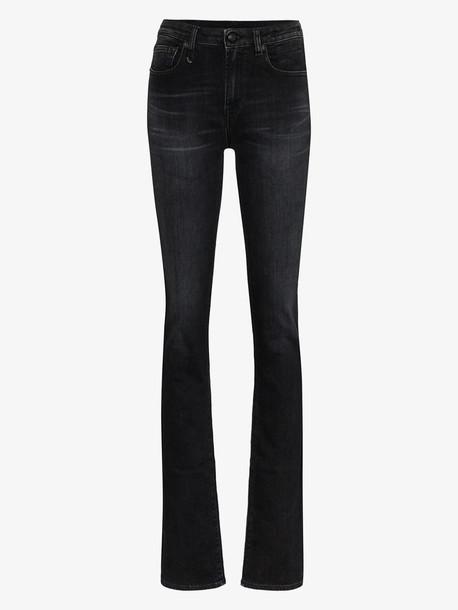 R13 Alison ankle zip skinny jeans in black