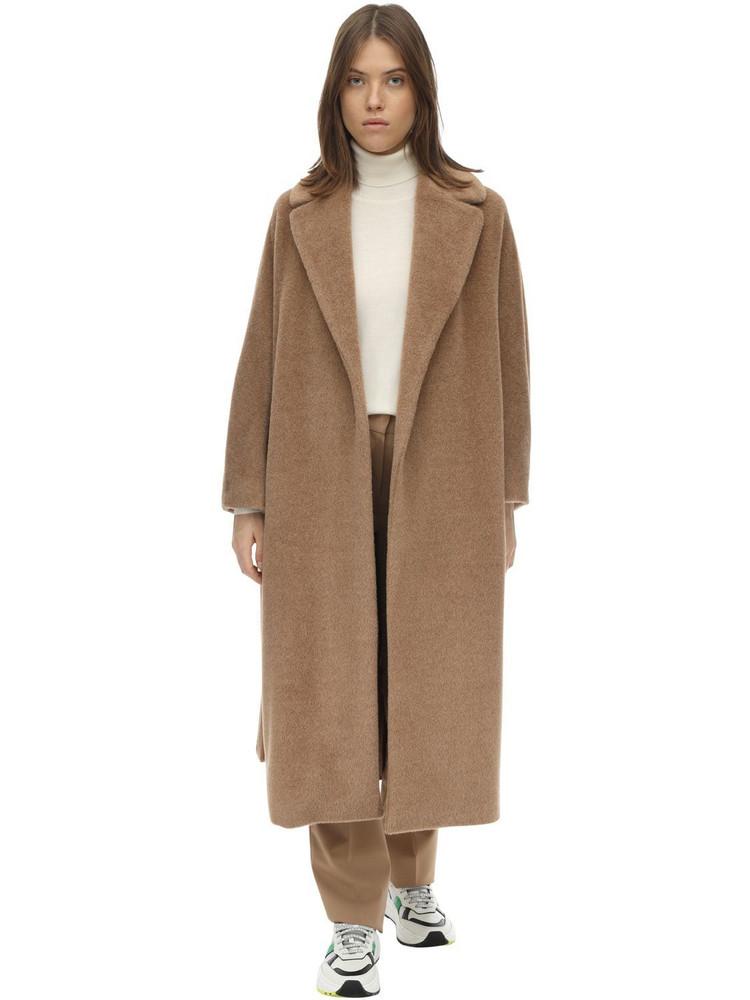 MAX MARA 'S Long Belted Alpaca & Virgin Wool Coat in camel