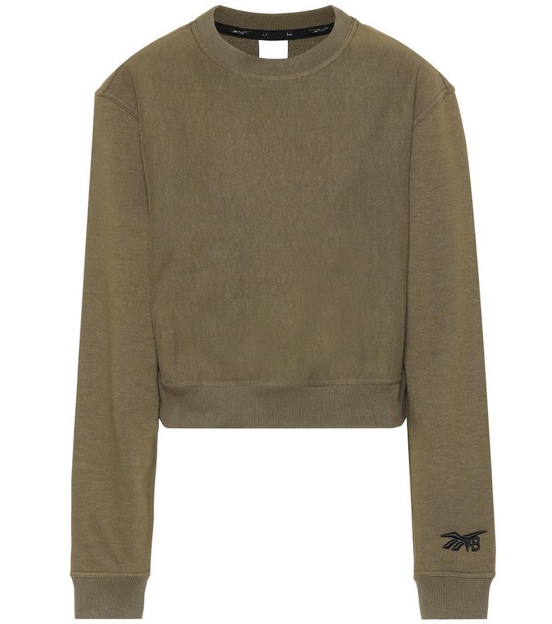 Reebok x Victoria Beckham Cropped cotton sweatshirt in green