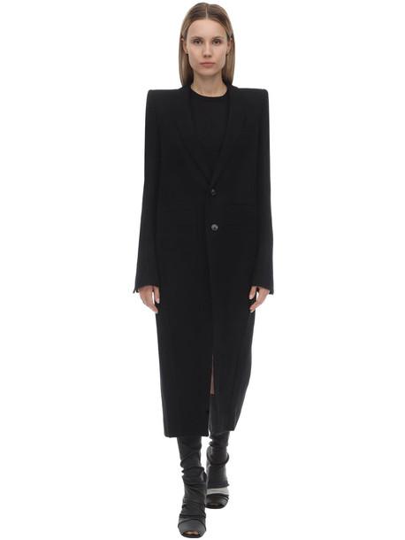 RICK OWENS Long Wool Flannel Coat in black