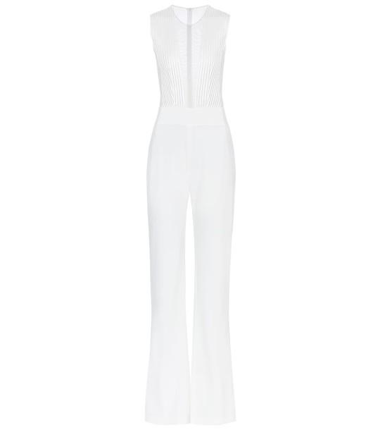 Galvan Soho satin-crêpe bridal jumpsuit in white