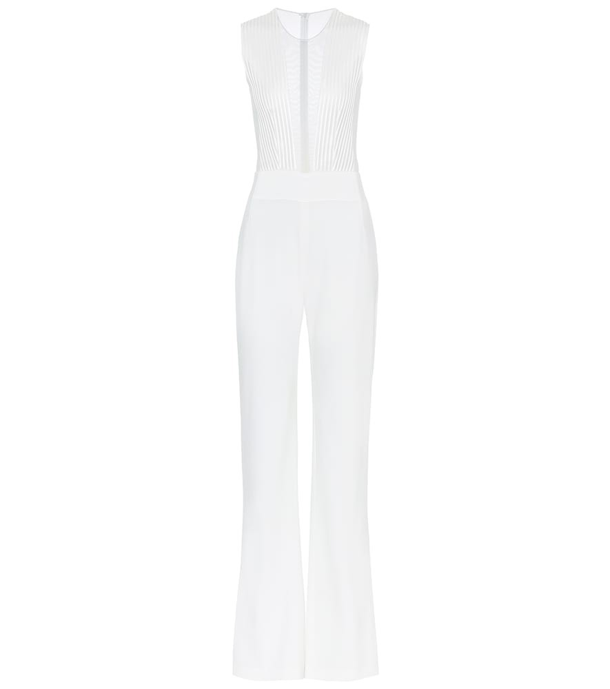 Galvan Soho satin-crêpe bridal jumpsuit in white