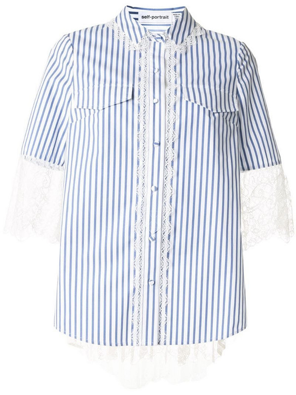Self-Portrait striped print lace trim shirt in blue