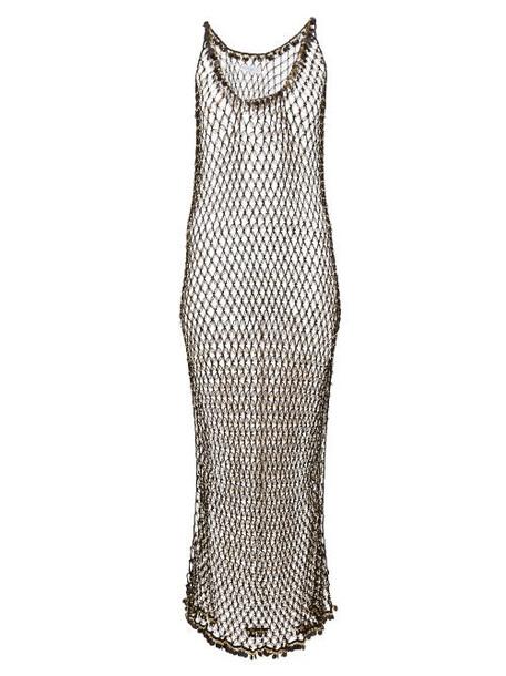 My Beachy Side - Orpul Beaded Crochet Maxi Dress - Womens - Black