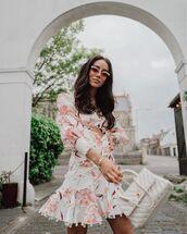 dress,floral dress,white dress,mini dress,long dress,zimmermann,white bag