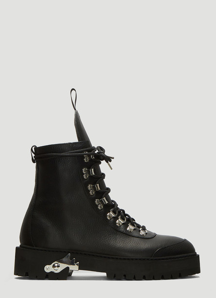 Off-White Leather Hiking Boots in Black size EU - 39