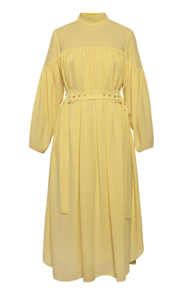 Anna October Mila Sheer Yoke Belted Dress Size: XS in yellow