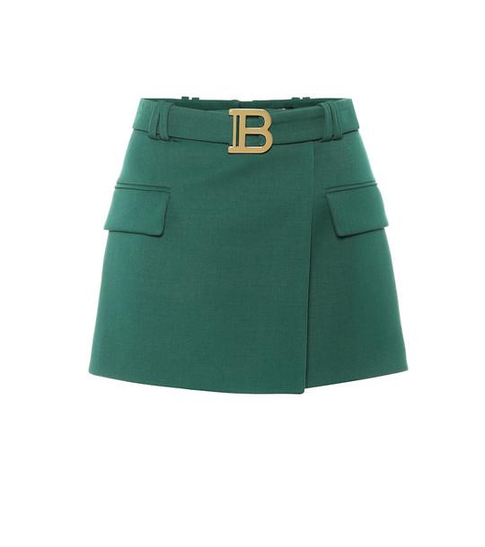 Balmain Wool miniskirt in green