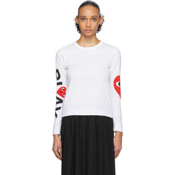 Comme des Garcons Play White and Red Logo Single Heart Long Sleeve T-Shirt