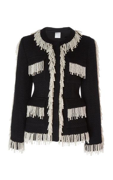 Huishan Zhang Cecile Fringed Pearl Jacket in black