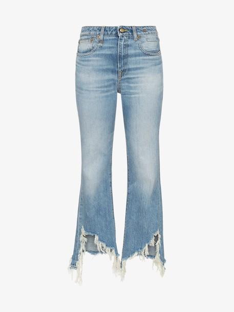 R13 kick fit distressed hem jeans in blue