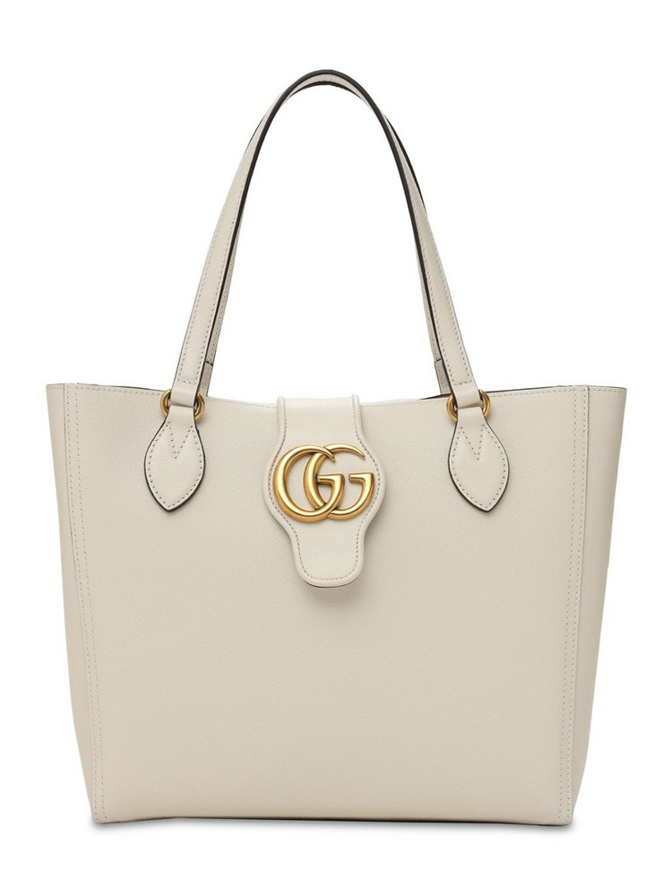 GUCCI Dhalia Leather Tote Bag W/pouch in white