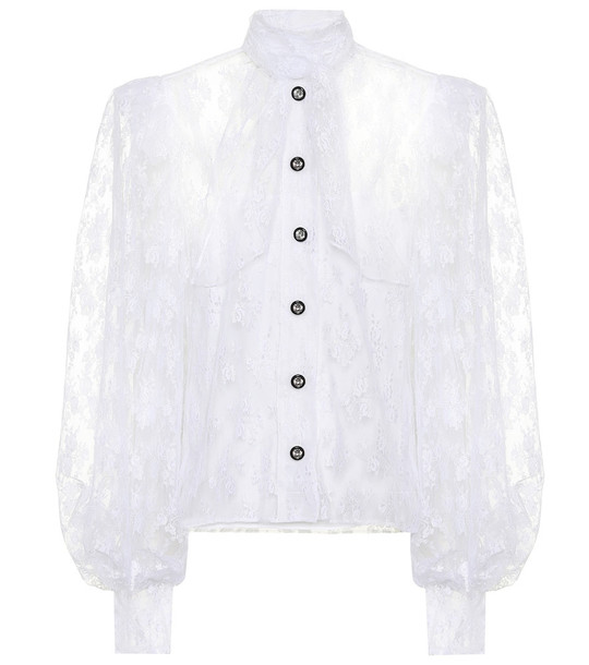 Christopher Kane Embellished lace blouse in white