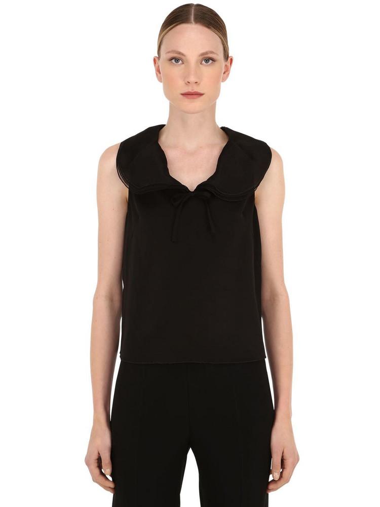GIORGIO ARMANI Stretch Silk Charmeuse Top in black