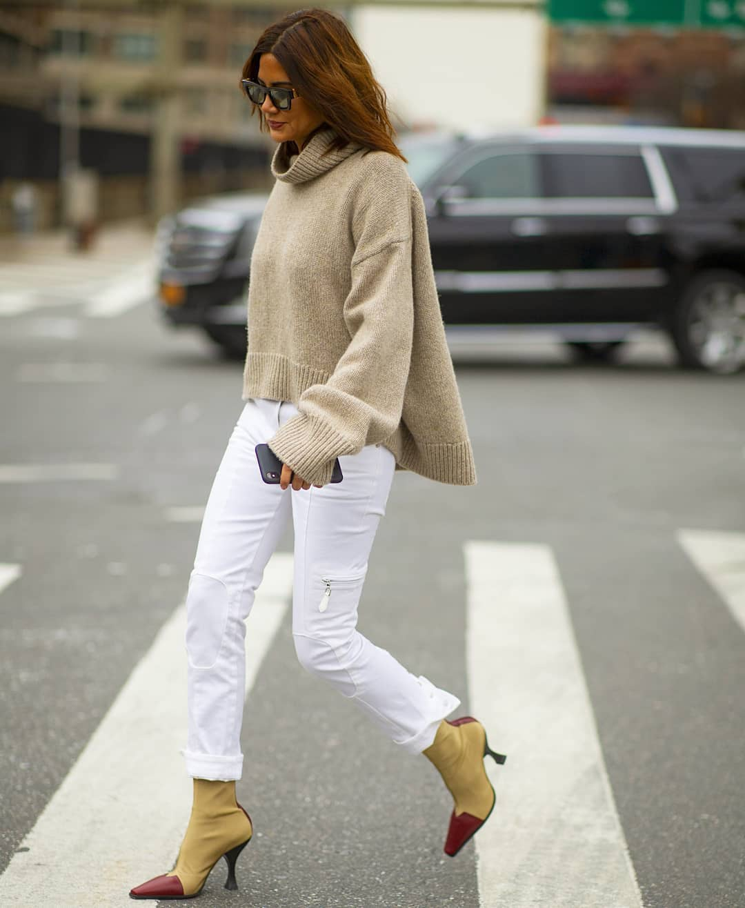 pants white pants cargo pants ankle boots celine heel boots turtleneck sweater oversized sweater
