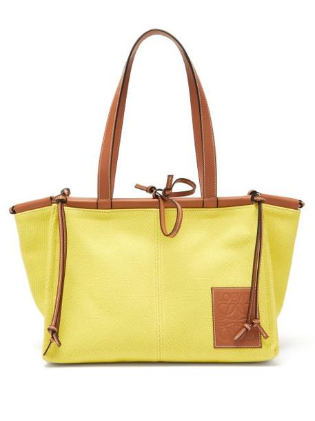 Loewe - Cushion Small Canvas Tote Bag - Womens - Yellow