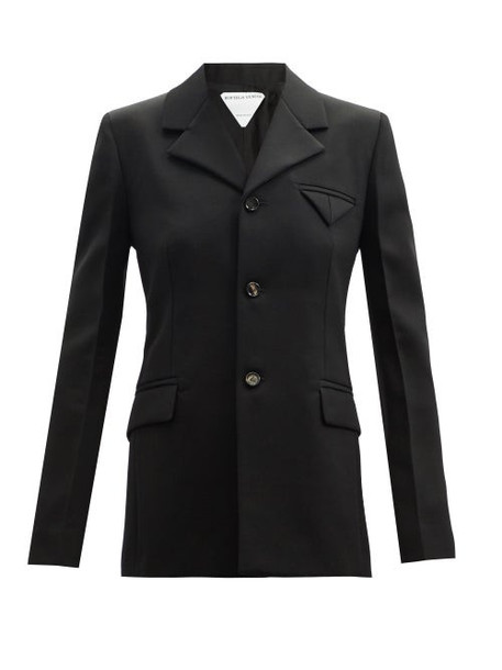 Bottega Veneta - Single-breasted Wool Grain-de-poudre Jacket - Womens - Black