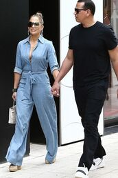 jumpsuit,jennifer lopez,celebrity,wide-leg pants,pants,top,spring outfits