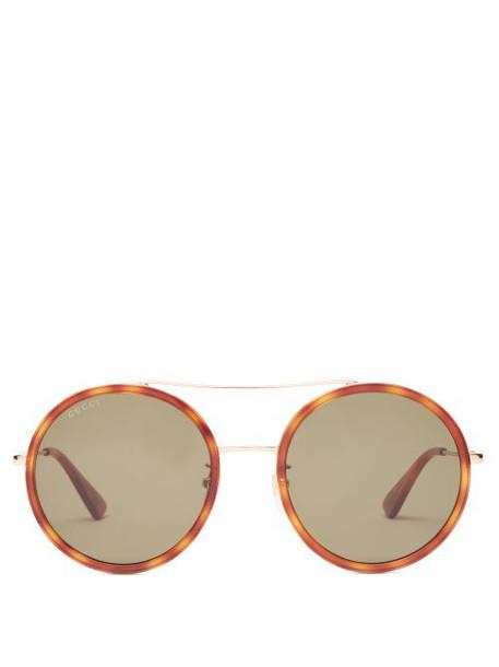 Gucci - Round Tortoiseshell-acetate And Metal Sunglasses - Womens - Green Gold