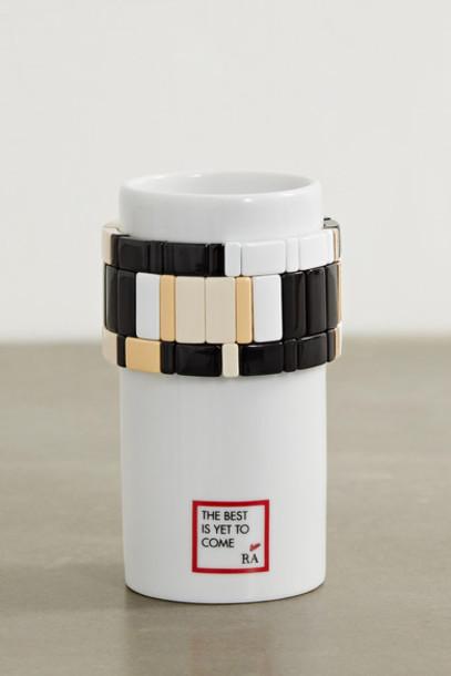 Roxanne Assoulin - Stack 'em Up Porcelain Vase And Set Of Three Enamel And Gold-tone Bracelets - Black