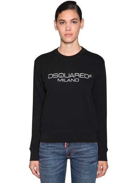 DSQUARED2 Logo Printed Cotton Jersey Sweatshirt in black