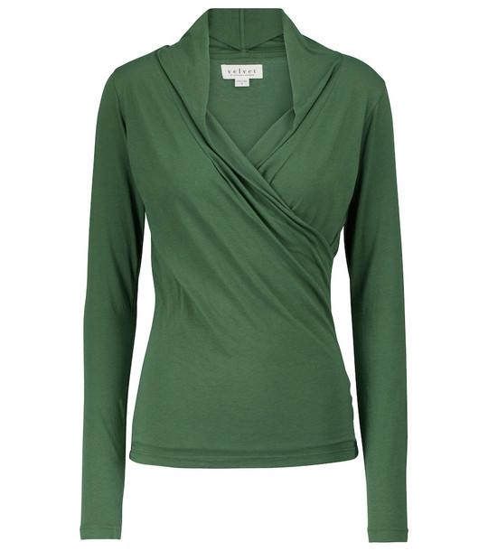 Velvet Meri wrap top in green