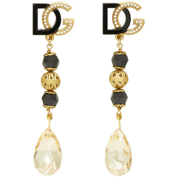 Dolce and Gabbana Black and Gold Drop Earrings
