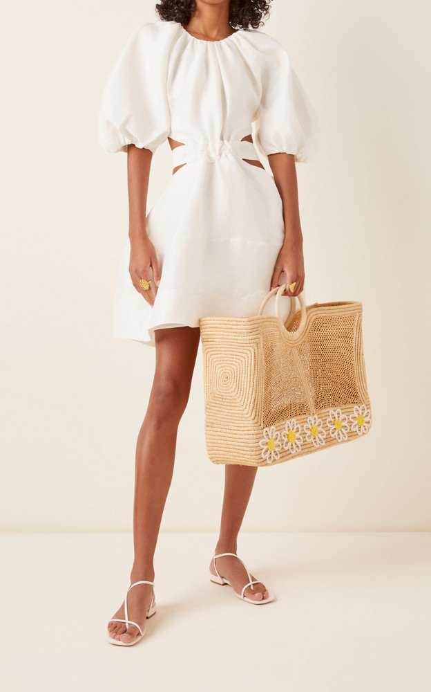 Poolside Lace Embroidered Woven Raffia Tote in ivory