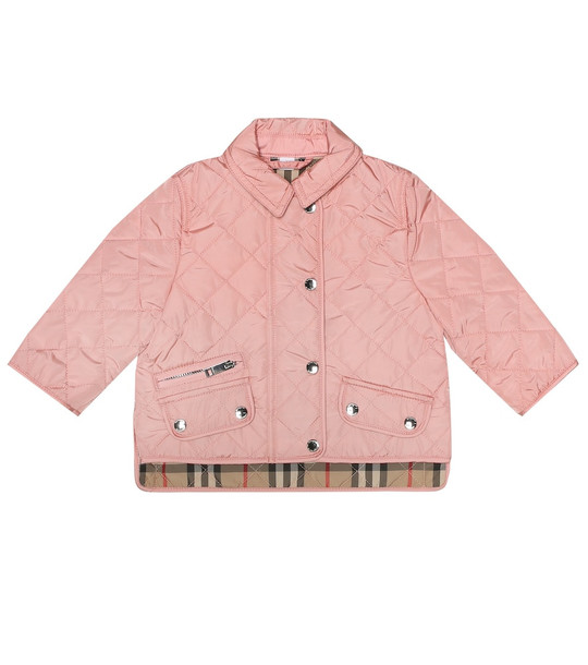 Burberry Kids Baby quilted jacket in pink