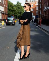 shoes,pumps,balenciaga,midi skirt,plaid,black sweater,knitted sweater,sunglasses,elegant,classy