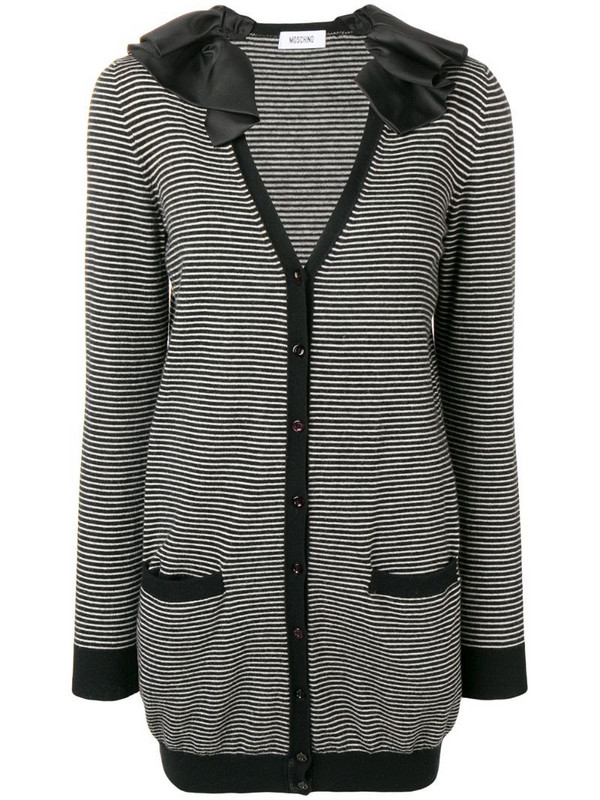 Moschino Pre-Owned ruffled neck striped jacket in black