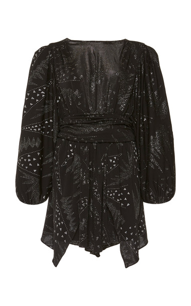 Isabel Marant Vienna Embroidered Jersey Mini Dress in black