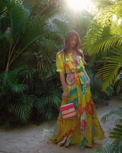 dress,rocky barnes,instagram,celebrity,blogger,maxi dress,summer dress,yellow