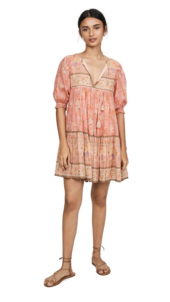 Spell and the Gypsy Collective Seashell Boho Mini Dress in coral