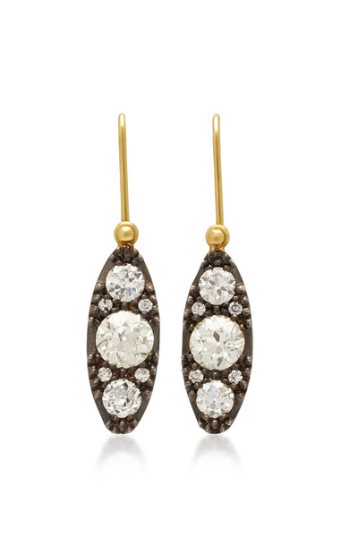 Sylva & Cie Lori 18K Gold Sterling Silver and Diamond Earrings in white