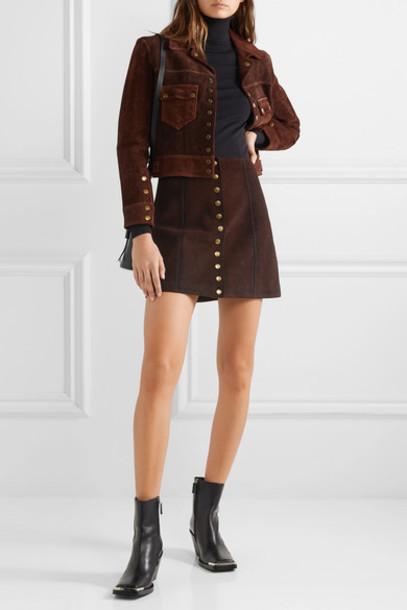 RE/DONE - 60s Suede Mini Skirt - Dark brown